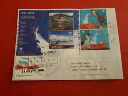 L'Argentine Enveloppe Circulé Avec Timbres Et Bloc A Peur Antartida - Argentinien