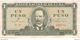 Billet 1 Peso Cuba 1961 Très Bon état - Cuba