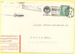 Deutsches Reich - 1930 - 5 + Flamme Dresden Internationale Hygiene Ausstellung - Drucksache - Fragment - Viaggiata Da Dr - Deutschland