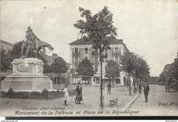 Cpa  Chalon Sur Saone - Monument De La Défense - Place De La République -  Circulée 1916 - Chalon Sur Saone
