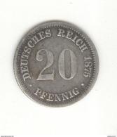 20 Pfennig Allemagne 1875 D - TTB+ - [ 2] 1871-1918: Deutsches Kaiserreich