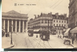 Cpa Dijon - Place Du Théâtre -  Circulée 1921 - Dijon