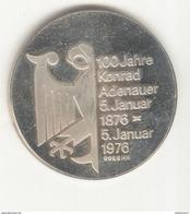 Médaille Allemagne - 100ème Anniversaire De La Naissance De Konrad Adenauer 1976 - SUP - Allemagne