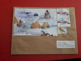 L'Argentine Enveloppe Circulé Avec Timbres Et Bloc Des Expéditions Antarctiques - Argentinien