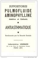 Buvard Pulmofluide Aminophylline - Laboratoire Leurquin - Très Bon état - Produits Pharmaceutiques