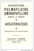 Buvard Pulmofluide Aminophylline - Laboratoire Leurquin - Très Bon état - Droguerías