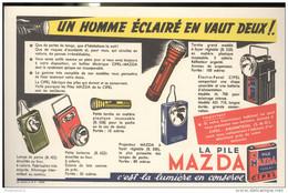 Buvard MAZDA - Un Homme éclairé En Vaut Deux - Très Bon état - Batterie