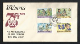 Maldives First Day Cover 75th Anniversary Of Girl Guiding 1987 FDC  Scout - Maldivas (1965-...)