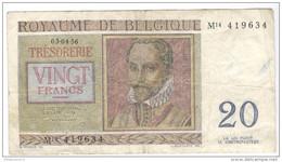 Billet 20 Francs Belgique 1956 - [ 2] 1831-... : Royaume De Belgique