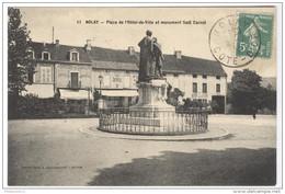 CPA Nolay - Place De L'Hôtel De Ville Et Monument Sadi Carnot - Dos Divisé - Circulée - France