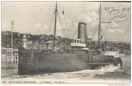 """CPA Boulogne Sur Mer - Le Vapeur """" Au Revoir """" - Circulée 1918 - Boulogne Sur Mer"""