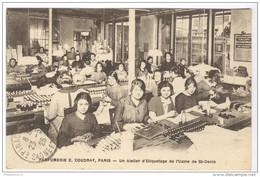 CPA Publicitaire Coudray Paris - Un Atelier D'Etiquetage De L'Usine Saint-Denis - Dos Divisé - Circulée En 1925 - Francia