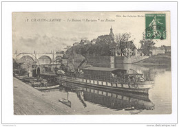 """CPA Chalon-sur-Saône - Le Bateau """"Parisien"""" Au Ponton - Dos Divisé - Circulée - Chalon Sur Saone"""