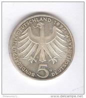 5 Mark Allemagne / Germany 1975 G - Albert Schweitzer  - Argent / Silver TTB+ - [ 7] 1949-… : RFA - Rép. Féd. D'Allemagne
