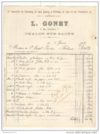 Facture Gonet - Spécialité De Bouchons Et Articles De Cave Et De Tonnellerie - Chalon Sur Saône - 1913 - Agriculture