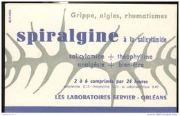 Buvard Spiralgine - Laboratoire  Servier - Très Bon état - Produits Pharmaceutiques