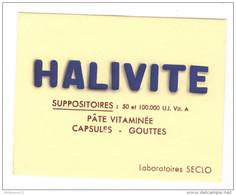 Buvard Halivite - Laboratoire Seclo - Très Bon état - Produits Pharmaceutiques