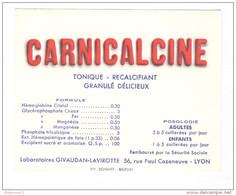 Buvard Carnicalcine - Laboratoire Givaudan-Lavirotte Lyon - Très Bon état - Produits Pharmaceutiques