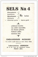 Buvard Sels Na 4 - Laboratoire Leurquin - Bon état - Produits Pharmaceutiques