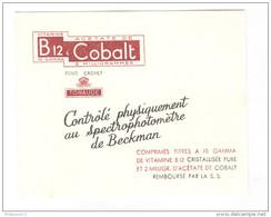 Buvard B12 & Cobalt - Laboratoire Toraude - Bon état - Produits Pharmaceutiques