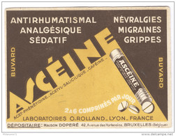 Buvard Ascéine - Laboratoire O.Rolland Lyon - Bon état - Produits Pharmaceutiques