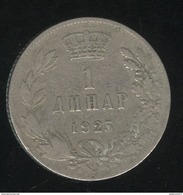 1 Dinar Yougoslavie 1925 TTB - Yougoslavie
