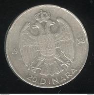 20 Dinara Yougoslavie 1938 TTB - Yougoslavie