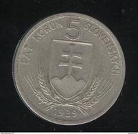 5 Korun Slovaquie 1939 TTB+ - Slovaquie