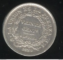 20 Centimes Bolivie 1889 Frappe Désaxée à 13h TTB - Bolivië