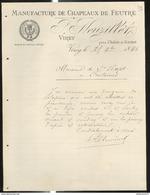 Courrier P. Neuzillet - Manufacture De Chapeaux De Feutre - Virey Près Chalon Sur Saône - 1896 - France