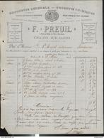 Facture F. Preuil - Droguerie Générale - Produits Chimiques - Chalon Sur Saône - 1894 - France