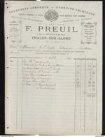 Facture F. Preuil - Droguerie Générale - Produits Chimiques - Chalon Sur Saône - 1891 - France