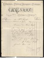 Facture A . Carré - Peinture , Décoration , Platrerie - Chalon Sur Saône - 1895 - France