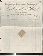 Facture Routaboul Potheret - Horlogerie , Bijouterie , Orfévrerie - Chalon Sur Saône - 1888 - France