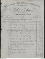 Facture Jules Jobard - Quincaillerie Ferronnerie Serrurerie - Chalon Sur Saône - 1903 - France