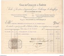 Facture Gaz De Chalon Sur Saône - Vente Et Location D'appareils à Gaz - 1910 - France