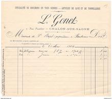 Facture Ets Gonet - Spécialiste De Bouchons En Tous Genres - Chalon Sur Saône 1904 - France
