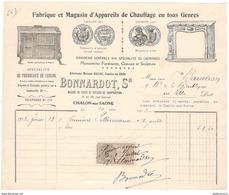 Facture Bonnardot - Appareils De Chauffage En Tous Genres - Chalon Sur Saône 1912 - France