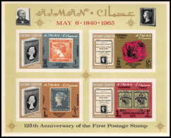 538 Ajman MNH ** Bloc N° A 9 B Overprint New Currency Postage Stamp Exhibition London 1965 (londres) Non Dentelé Imperf - Timbres Sur Timbres