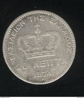 20 Lepta Grèce 1874 A - Georges 1er - Grèce