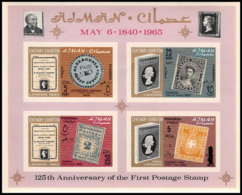 540 Ajman MNH ** Bloc N° B 9 A Overprint New Currency Postage Stamp Exhibition London 1965 Non Dentelé (imperforate) - Timbres Sur Timbres