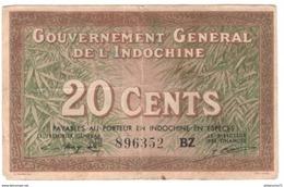 Billet 20 Centimes Gouvernement Général De L'Indochine - 1939 - Pick 86d - Autres