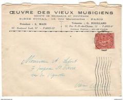 Marcophilie - Enveloppe à Entête Oeuvre Des Vieux Musiciens - De Paris à Paris - 1931 - Marcophilie (Lettres)