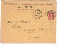 Marcophilie - Enveloppe à Entête E. Proffit - Manufacture D'objets De Fantaisie - De Paris à Nogent L' Artaud - 1914 - 1877-1920: Période Semi Moderne