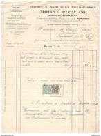 Facture Moline Plow Company - Machine Agricole Américaines - Paris 1917 + Courrier 1918 - France