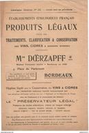 Publicité Produits Légaux Pour Traitements, Clarification...des Vins, Cidres...- Ets Doerzapff - Bordeaux - Autres