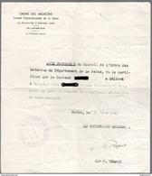 """Avis De L'Ordre Des Médecins - """"Etat Ne Pouvant Trouver Le Traitement Nécessaire En Zone Occupée"""" - 1942 - Dokumente"""