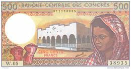 COMOROS P. 10b 500 F 1994 UNC (s. 9) - Comoros