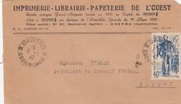 LETTRE DEVANT. INDOCHINE. 8 1 47. IMPRIMERIE-LIBRAIRIE-PAPETERIE DE L'OUEST. CANTHO POUR SAIGON.  / 4 - Indochine (1889-1945)