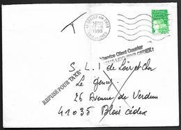 LF B87  Lettre De 1999 Refusée Pour Taxe Renvoyée Par Le Service De Libourne - 1961-....